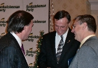 Don speaks with Gordon Wyant and Gary Derenoski at the Saskatoon Southeast Christmas Reception - Click on Image to enlarge
