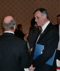 Don speaks with Joe Hordyski at the Saskatoon Southeast Christmas Reception - Click on Image to enlarge